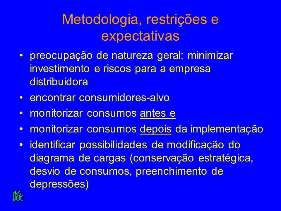 Metodologia, restrições e expectativas preocupação de natureza geral: minimizar investimento e riscos para a empresa distribuidora encontrar consumido