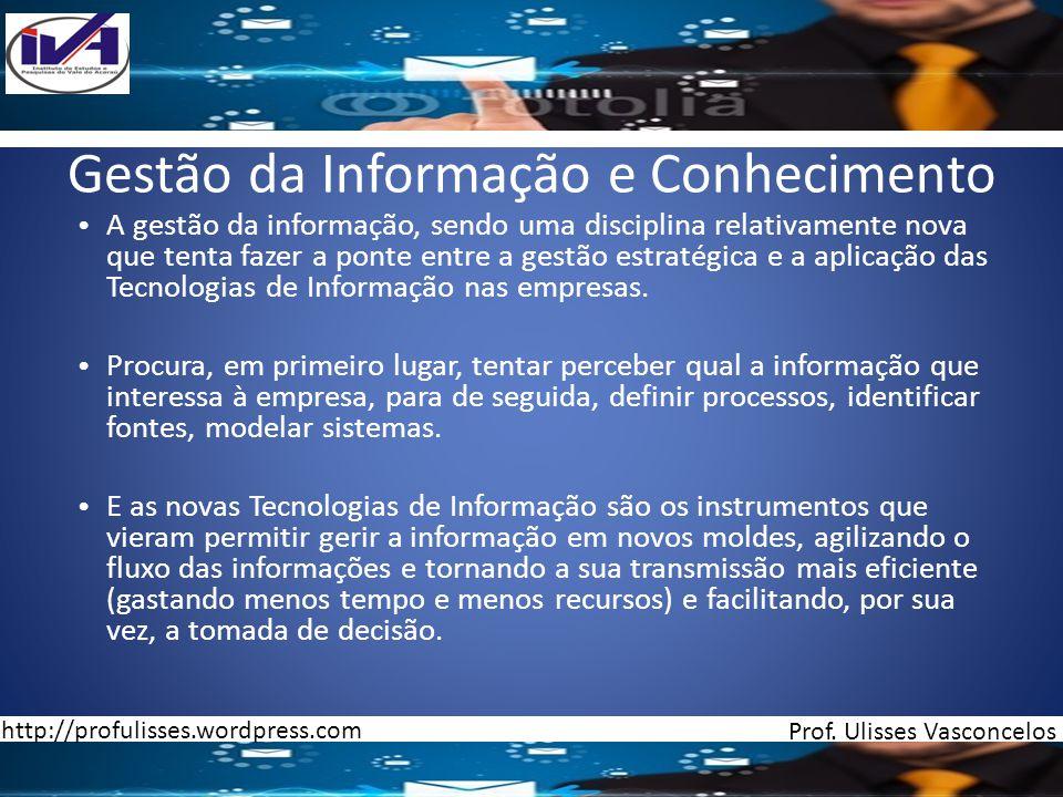 Gestão da Informação e Conhecimento A gestão da informação, sendo uma disciplina relativamente nova que tenta fazer a ponte entre a gestão estratégica