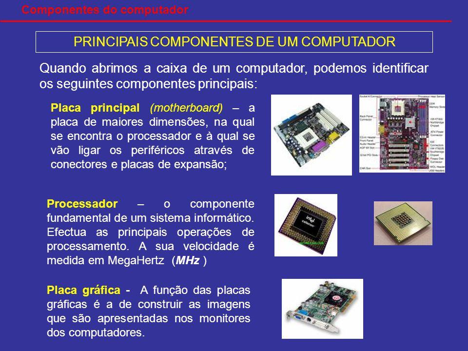 PRINCIPAIS COMPONENTES DE UM COMPUTADOR Quando abrimos a caixa de um computador, podemos identificar os seguintes componentes principais: Placa principal (motherboard) – a placa de maiores dimensões, na qual se encontra o processador e à qual se vão ligar os periféricos através de conectores e placas de expansão; Processador – o componente fundamental de um sistema informático.