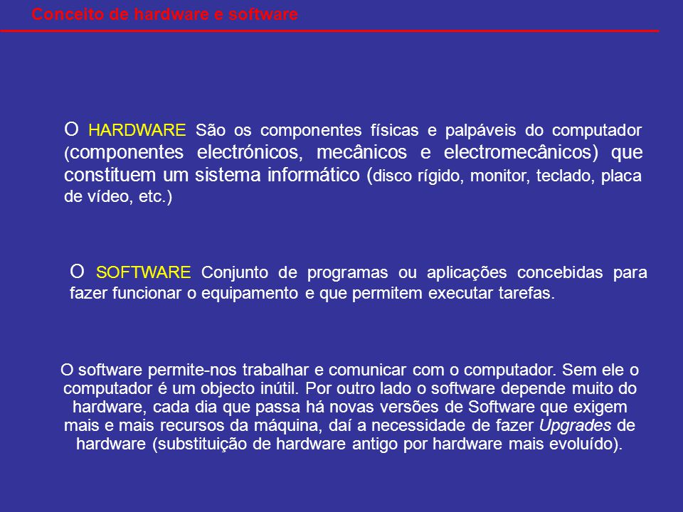 O HARDWARE São os componentes físicas e palpáveis do computador ( componentes electrónicos, mecânicos e electromecânicos) que constituem um sistema informático ( disco rígido, monitor, teclado, placa de vídeo, etc.) O SOFTWARE Conjunto de programas ou aplicações concebidas para fazer funcionar o equipamento e que permitem executar tarefas.