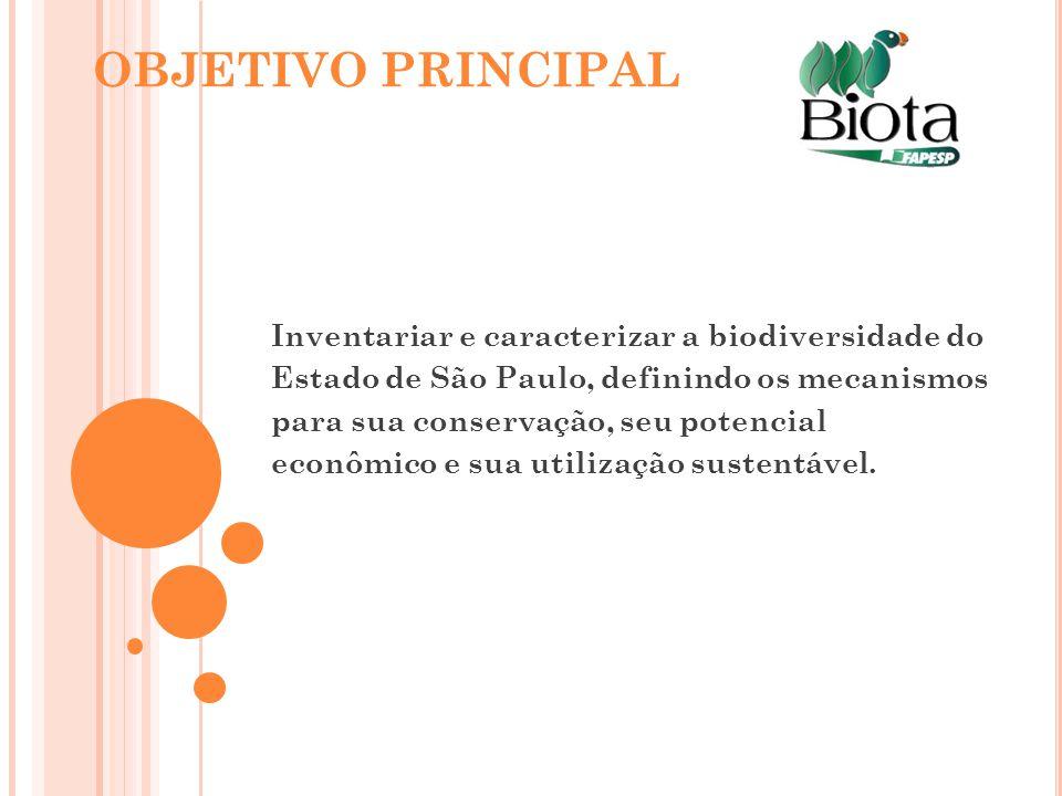 OBJETIVO PRINCIPAL Inventariar e caracterizar a biodiversidade do Estado de São Paulo, definindo os mecanismos para sua conservação, seu potencial eco