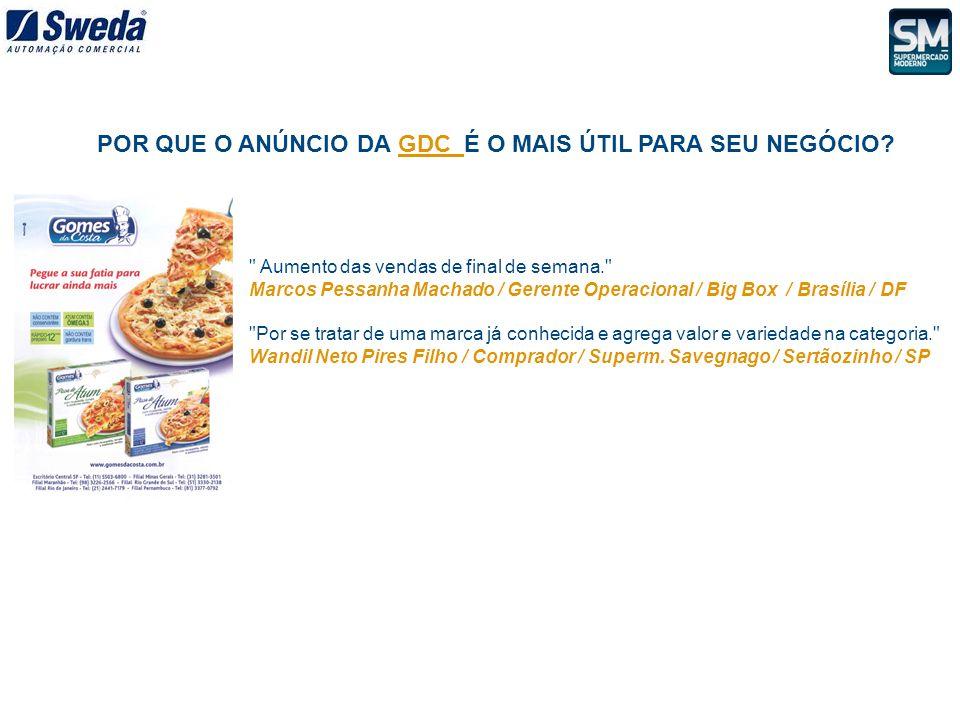Aumento das vendas de final de semana. Marcos Pessanha Machado / Gerente Operacional / Big Box / Brasília / DF Por se tratar de uma marca já conhecida e agrega valor e variedade na categoria. Wandil Neto Pires Filho / Comprador / Superm.
