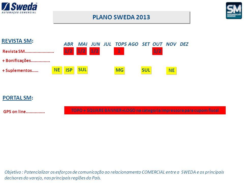 1/2 ABR MAI JUN JUL TOP5 AGO SET OUT NOV DEZ REVISTA SM: PLANO SWEDA 2013 PORTAL SM: Revista SM....................... 1/2 + Bonificações.............