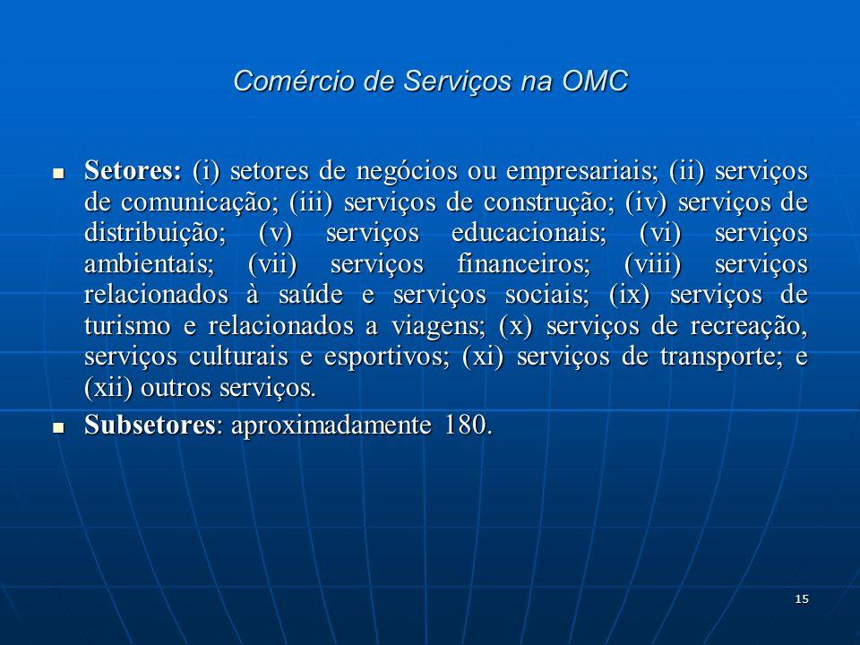 15 Comércio de Serviços na OMC Setores: (i) setores de negócios ou empresariais; (ii) serviços de comunicação; (iii) serviços de construção; (iv) serviços de distribuição; (v) serviços educacionais; (vi) serviços ambientais; (vii) serviços financeiros; (viii) serviços relacionados à saúde e serviços sociais; (ix) serviços de turismo e relacionados a viagens; (x) serviços de recreação, serviços culturais e esportivos; (xi) serviços de transporte; e (xii) outros serviços.