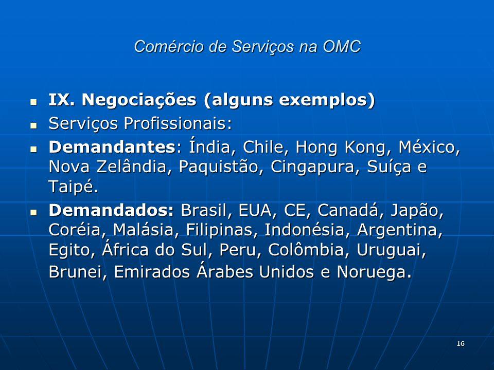 16 Comércio de Serviços na OMC IX.Negociações (alguns exemplos) IX.