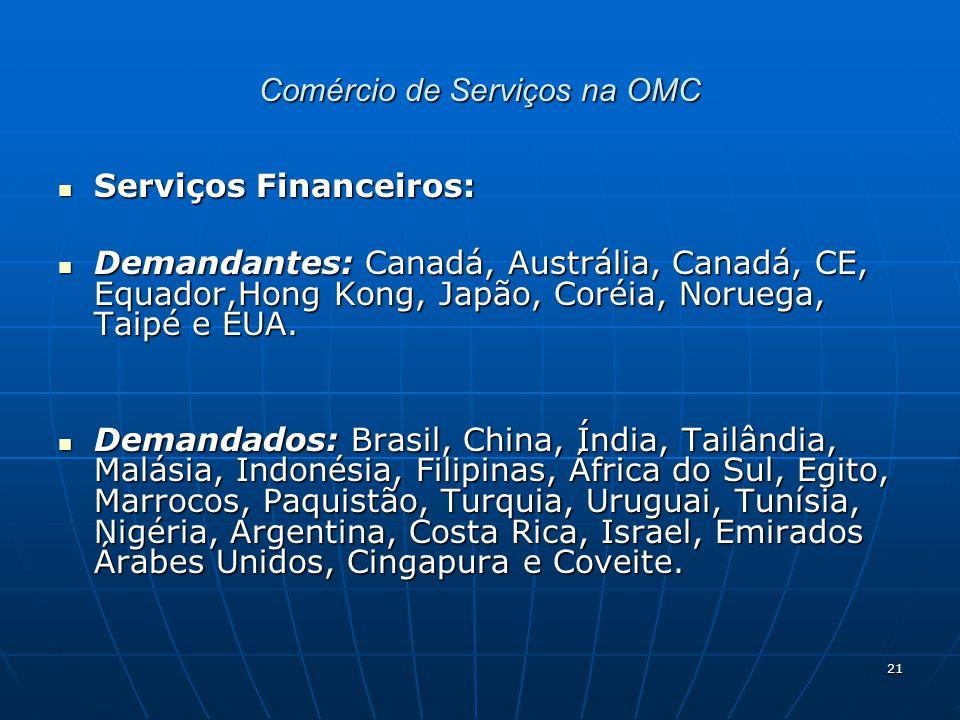 21 Comércio de Serviços na OMC Serviços Financeiros: Serviços Financeiros: Demandantes: Canadá, Austrália, Canadá, CE, Equador,Hong Kong, Japão, Coréia, Noruega, Taipé e EUA.
