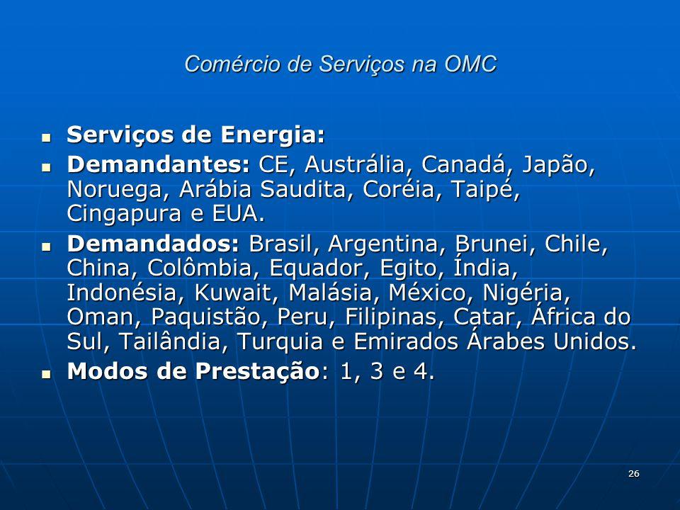 26 Comércio de Serviços na OMC Serviços de Energia: Serviços de Energia: Demandantes: CE, Austrália, Canadá, Japão, Noruega, Arábia Saudita, Coréia, Taipé, Cingapura e EUA.