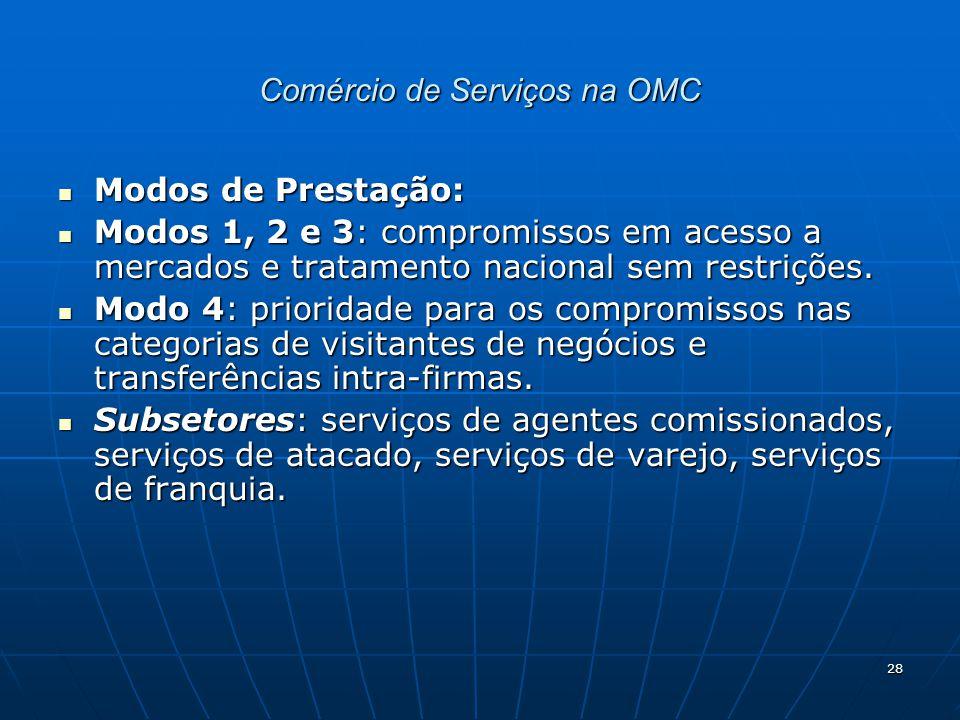 28 Comércio de Serviços na OMC Modos de Prestação: Modos de Prestação: Modos 1, 2 e 3: compromissos em acesso a mercados e tratamento nacional sem restrições.