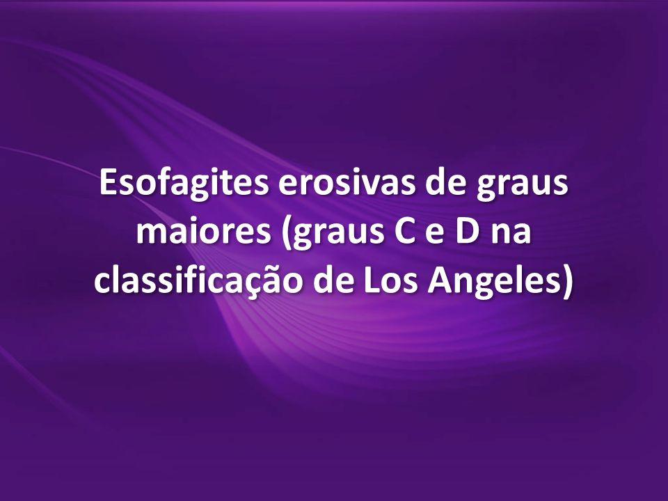 1.Esofagite erosiva, com convergência lateral entre duas erosões (grau C na classificação de Los Angeles).