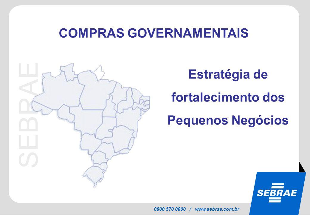 SEBRAE 0800 570 0800 / www.sebrae.com.br Estratégia de fortalecimento dos Pequenos Negócios COMPRAS GOVERNAMENTAIS