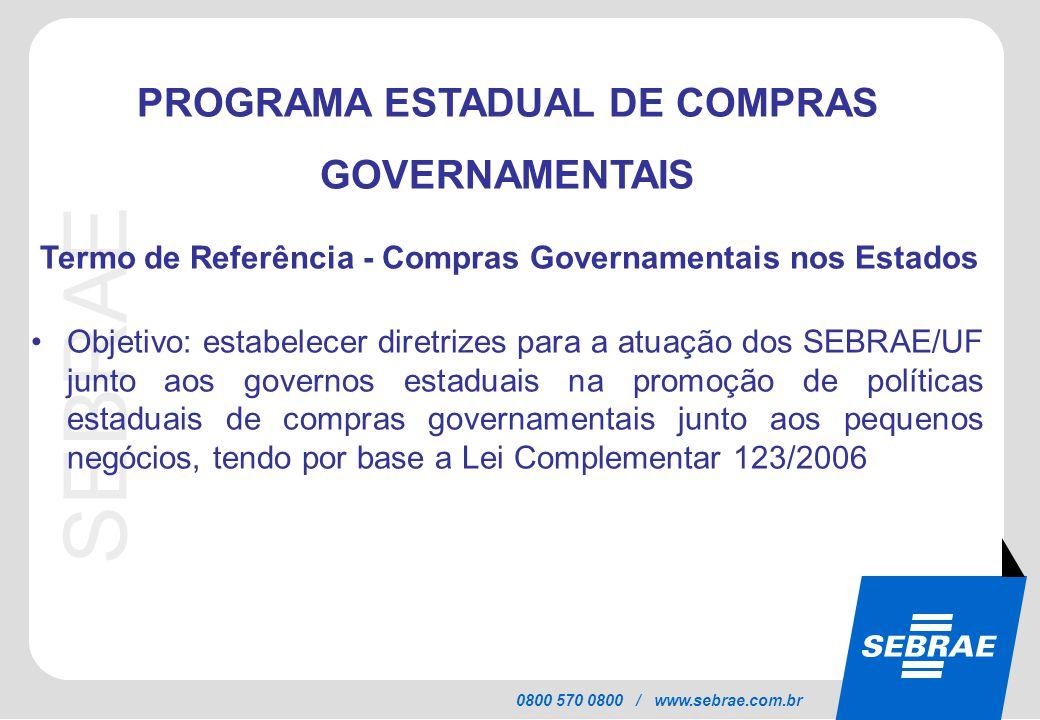 SEBRAE 0800 570 0800 / www.sebrae.com.br PROGRAMA ESTADUAL DE COMPRAS GOVERNAMENTAIS Termo de Referência - Compras Governamentais nos Estados Objetivo