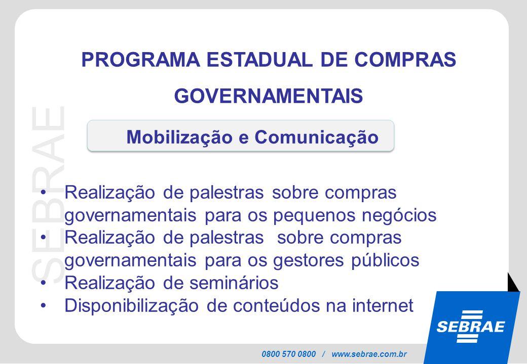 SEBRAE 0800 570 0800 / www.sebrae.com.br PROGRAMA ESTADUAL DE COMPRAS GOVERNAMENTAIS Realização de palestras sobre compras governamentais para os pequ