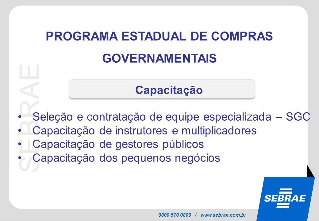 SEBRAE 0800 570 0800 / www.sebrae.com.br PROGRAMA ESTADUAL DE COMPRAS GOVERNAMENTAIS Seleção e contratação de equipe especializada – SGC Capacitação d