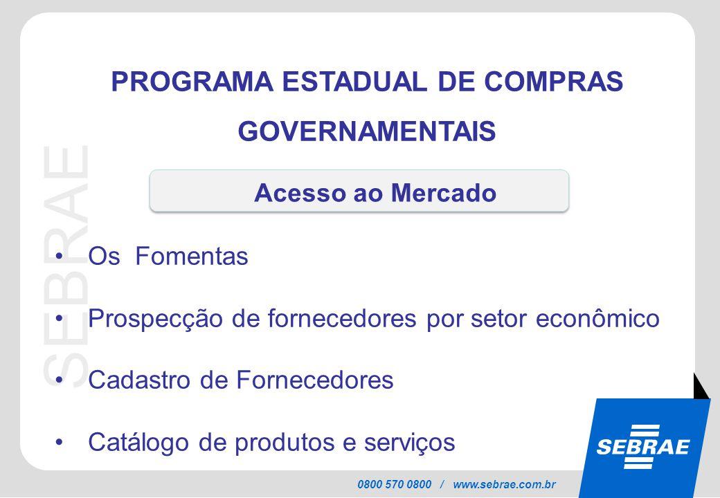 SEBRAE 0800 570 0800 / www.sebrae.com.br PROGRAMA ESTADUAL DE COMPRAS GOVERNAMENTAIS Os Fomentas Prospecção de fornecedores por setor econômico Cadast