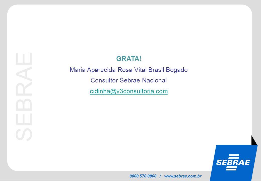 SEBRAE 0800 570 0800 / www.sebrae.com.br GRATA! Maria Aparecida Rosa Vital Brasil Bogado Consultor Sebrae Nacional cidinha@v3consultoria.com