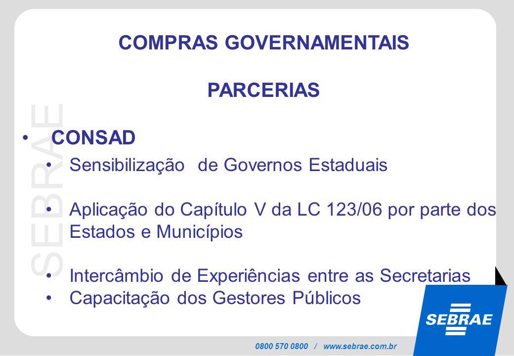 SEBRAE 0800 570 0800 / www.sebrae.com.br COMPRAS GOVERNAMENTAIS PARCERIAS CONSAD Sensibilização de Governos Estaduais Aplicação do Capítulo V da LC 12