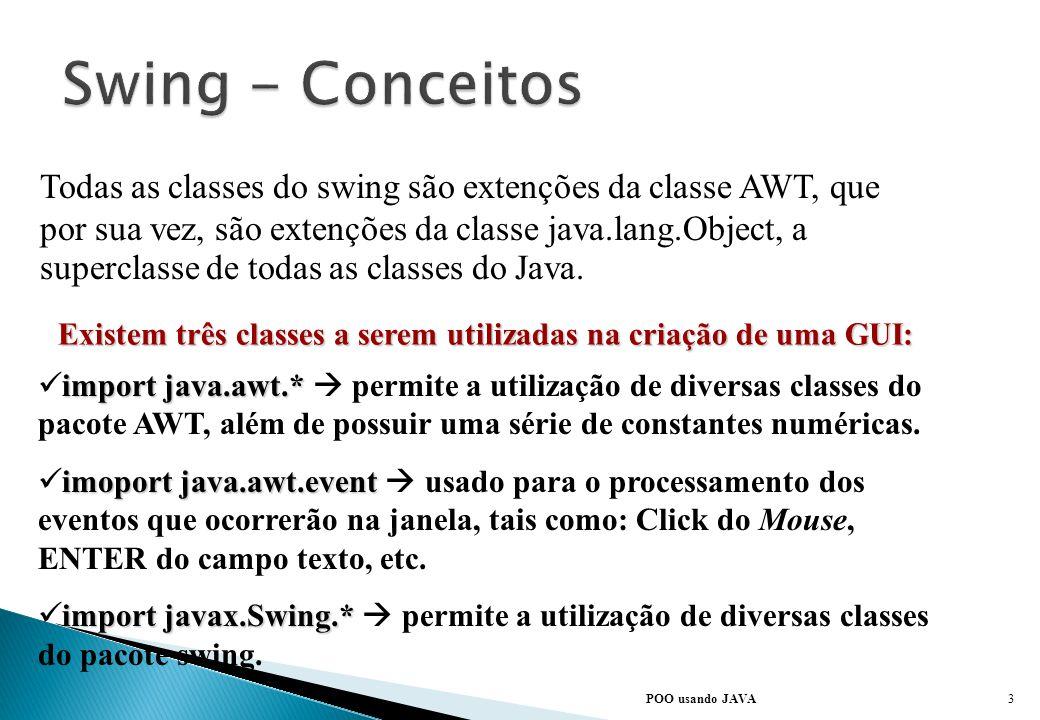O pacote Swing não é um substituto do AWT ( Abstract Window Toolkit ), o pacote gráfico utilizado nas primeiras versões de java. Em vez disso, o Swing