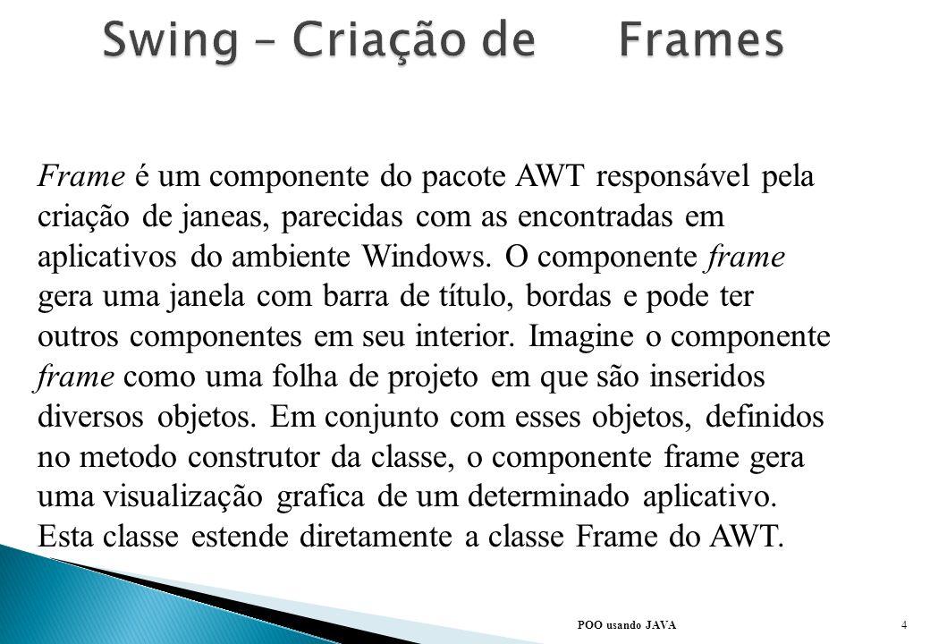 Todas as classes do swing são extenções da classe AWT, que por sua vez, são extenções da classe java.lang.Object, a superclasse de todas as classes do