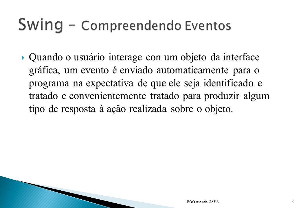 As interfaces gráficas são elementos baseados em eventos. De uma maneira geral, eventos são interaçãao do usuário com a interface gráfica. Mover o mou