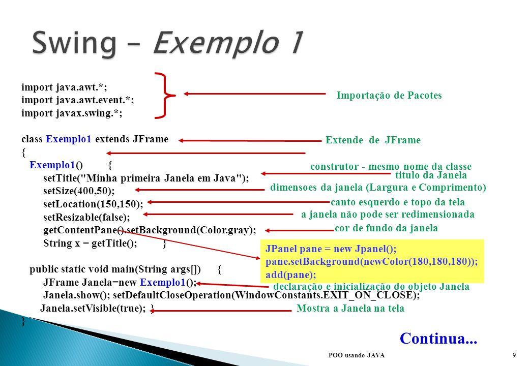 É possível utilizar alguns componentes básicos do Swing diretamente. Com o Swing não há mudanças fundamentais no modo como as aplicações são construíd