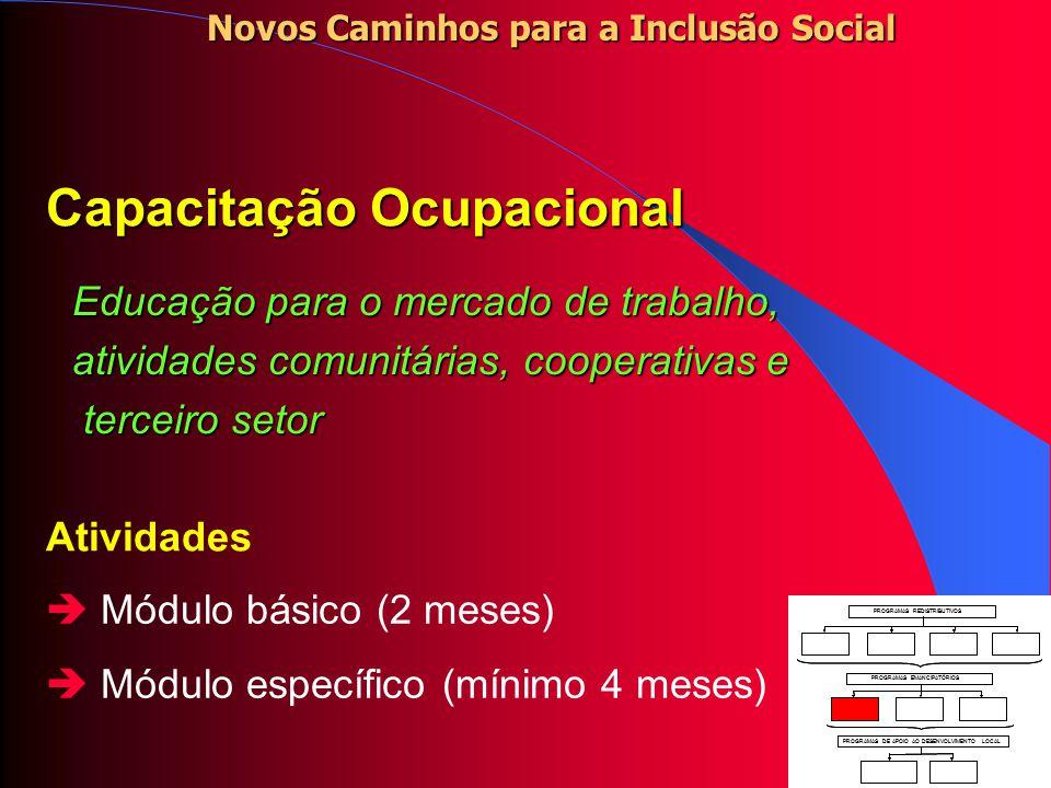 Operação Trabalho Atividades comunitárias e uma bolsa mensal para desempregados de longa duração.