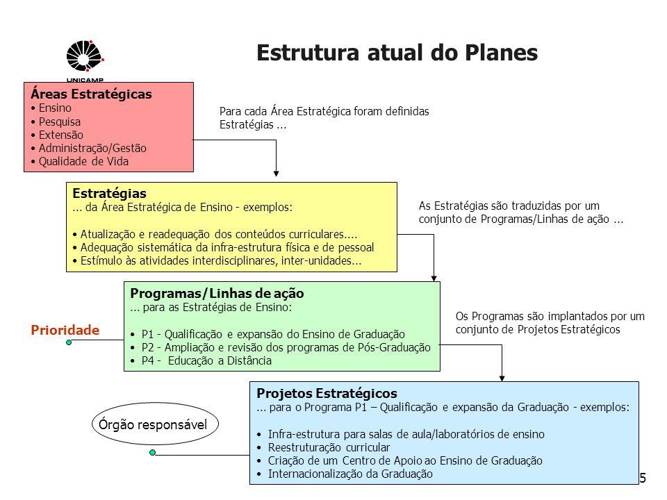 15 Estrutura atual do Planes Planejamento 2003 Áreas Estratégicas Ensino Pesquisa Extensão Administração/Gestão Qualidade de Vida Para cada Área Estra