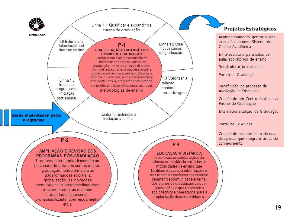 19 QUALIFICAÇÃO E EXPANSÃO DO ENSINO DE GRADUAÇÃO Promover uma ampla discussão na Universidade sobre os cursos de graduação, tendo em vista as diretri