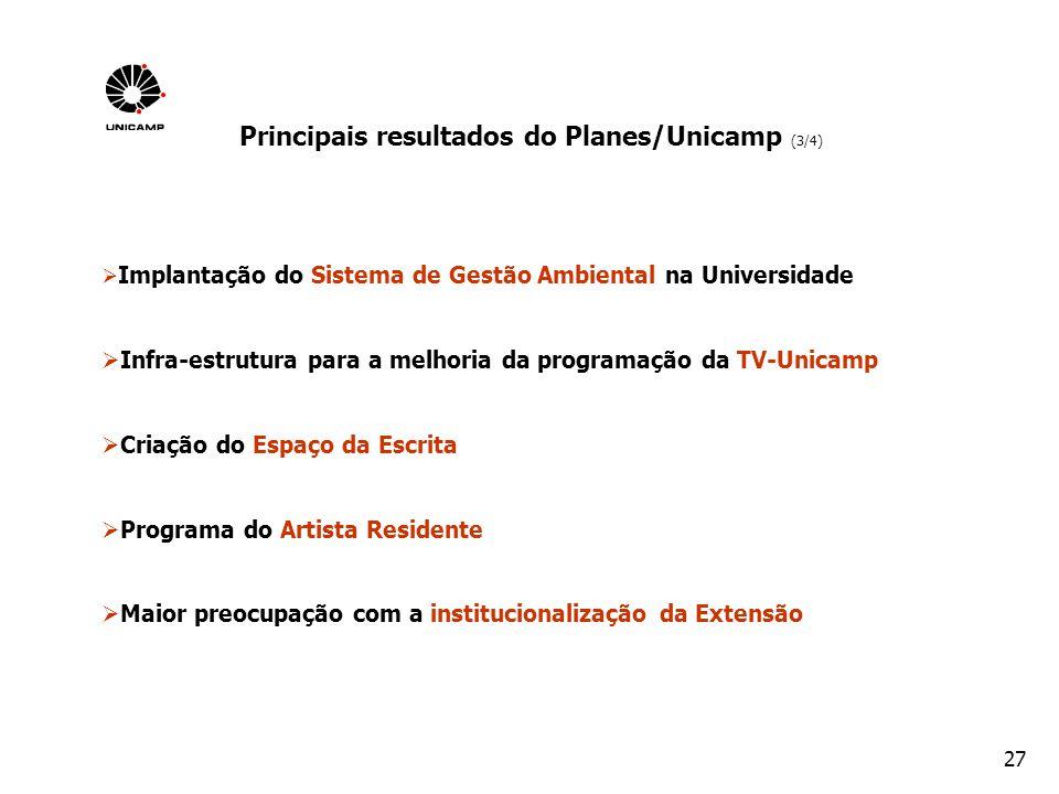 27 Implantação do Sistema de Gestão Ambiental na Universidade Infra-estrutura para a melhoria da programação da TV-Unicamp Criação do Espaço da Escrit