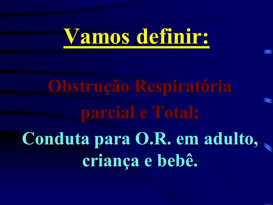 Vamos definir: Obstrução Respiratória parcial e Total; Conduta para O.R. em adulto, criança e bebê.