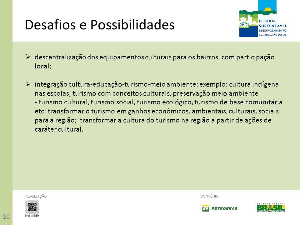 22 REALIZAÇÃOCONVÊNIO descentralização dos equipamentos culturais para os bairros, com participação local; integração cultura-educação-turismo-meio am