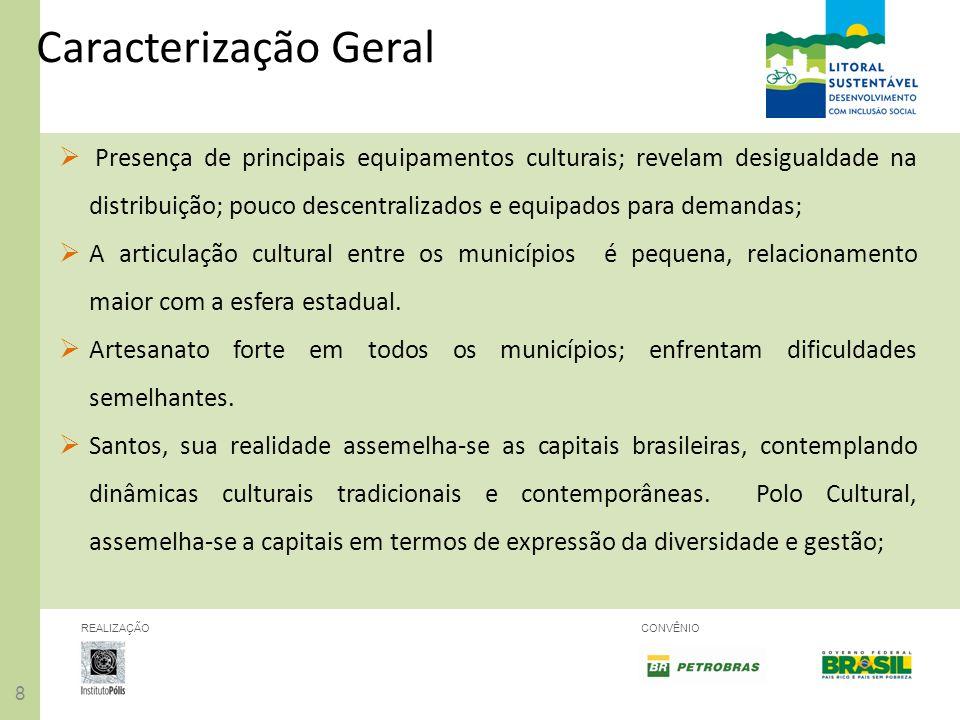 88 REALIZAÇÃOCONVÊNIO Presença de principais equipamentos culturais; revelam desigualdade na distribuição; pouco descentralizados e equipados para dem
