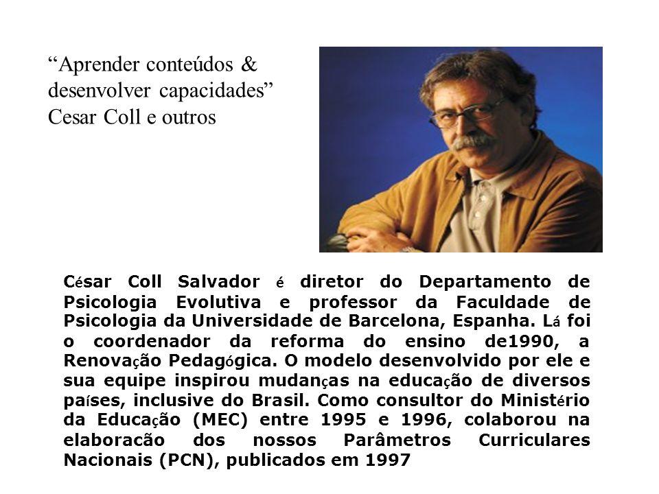 C é sar Coll Salvador é diretor do Departamento de Psicologia Evolutiva e professor da Faculdade de Psicologia da Universidade de Barcelona, Espanha.
