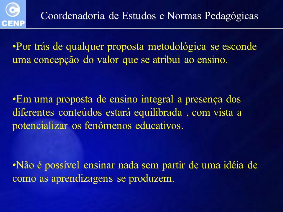 Por trás de qualquer proposta metodológica se esconde uma concepção do valor que se atribui ao ensino. Em uma proposta de ensino integral a presença d