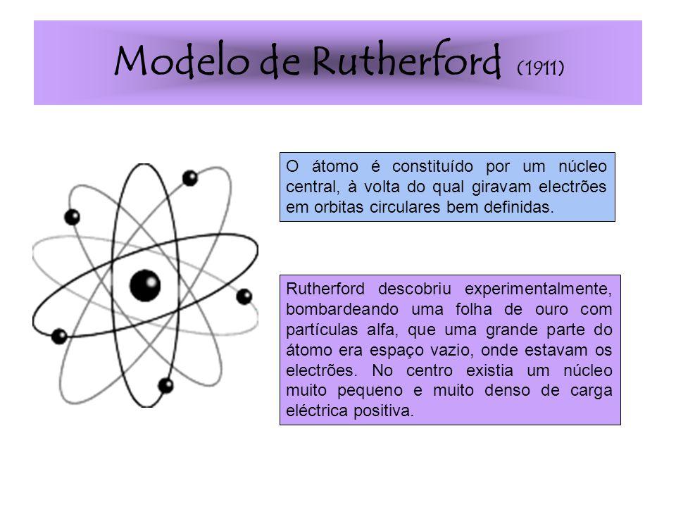 Modelo de Rutherford (1911) Rutherford descobriu experimentalmente, bombardeando uma folha de ouro com partículas alfa, que uma grande parte do átomo