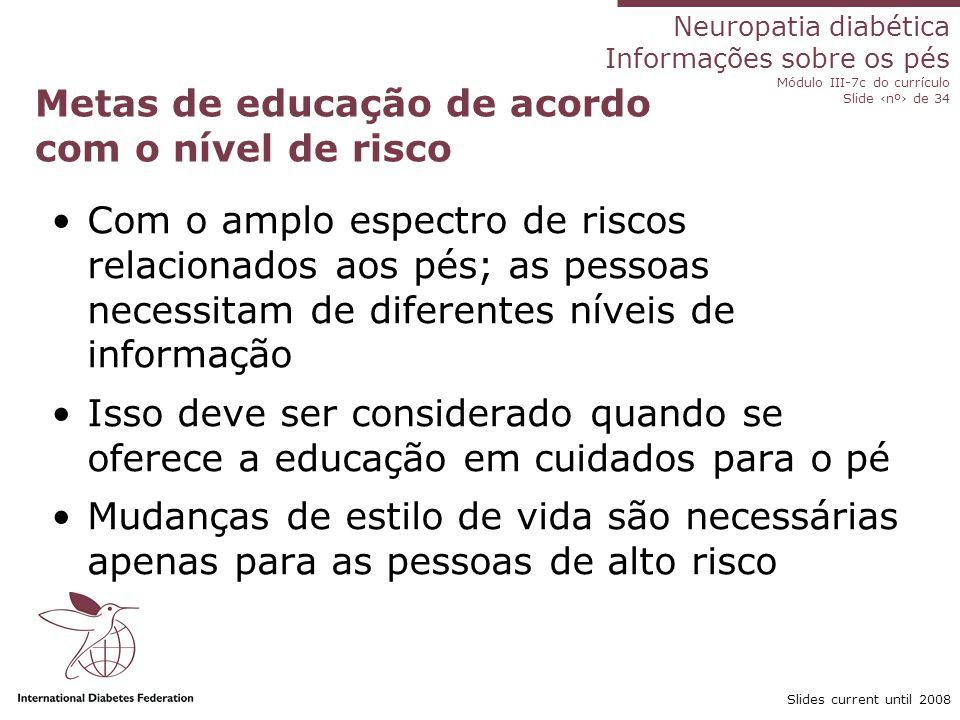 Neuropatia diabética Informações sobre os pés Módulo III-7c do currículo Slide nº de 34 Slides current until 2008 Metas de educação de acordo com o ní