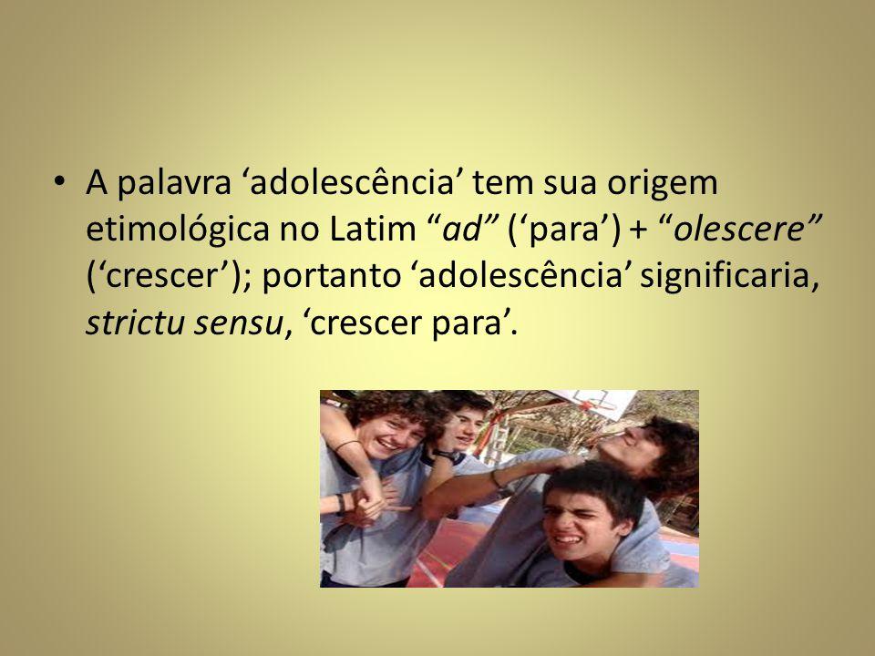 A palavra adolescência tem sua origem etimológica no Latim ad (para) + olescere (crescer); portanto adolescência significaria, strictu sensu, crescer