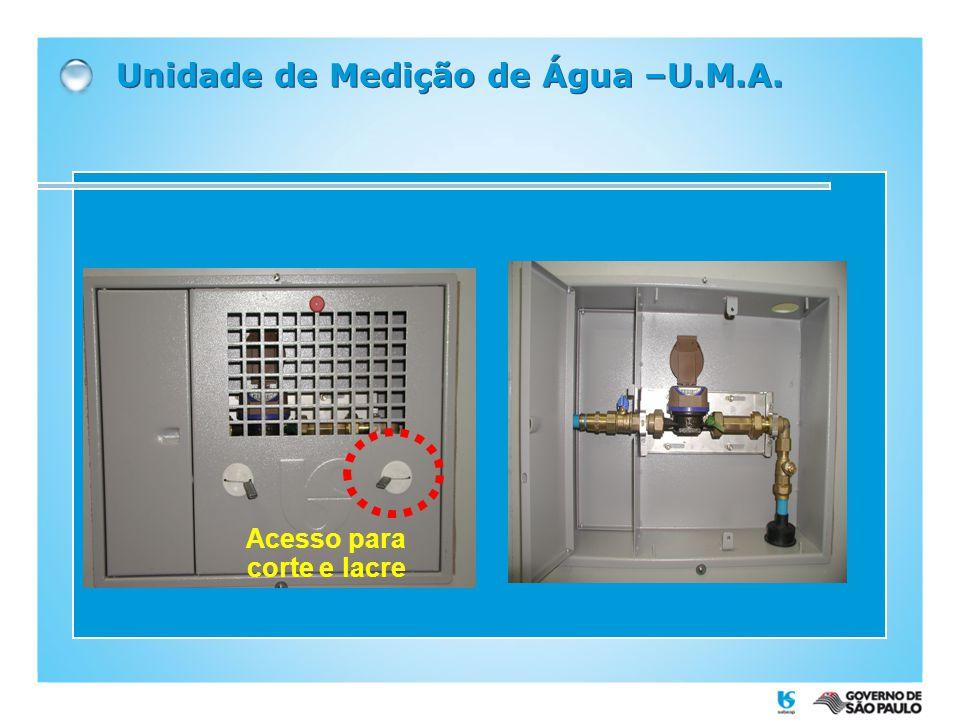Unidade de Medição de Água –U.M.A. Acesso para corte e lacre