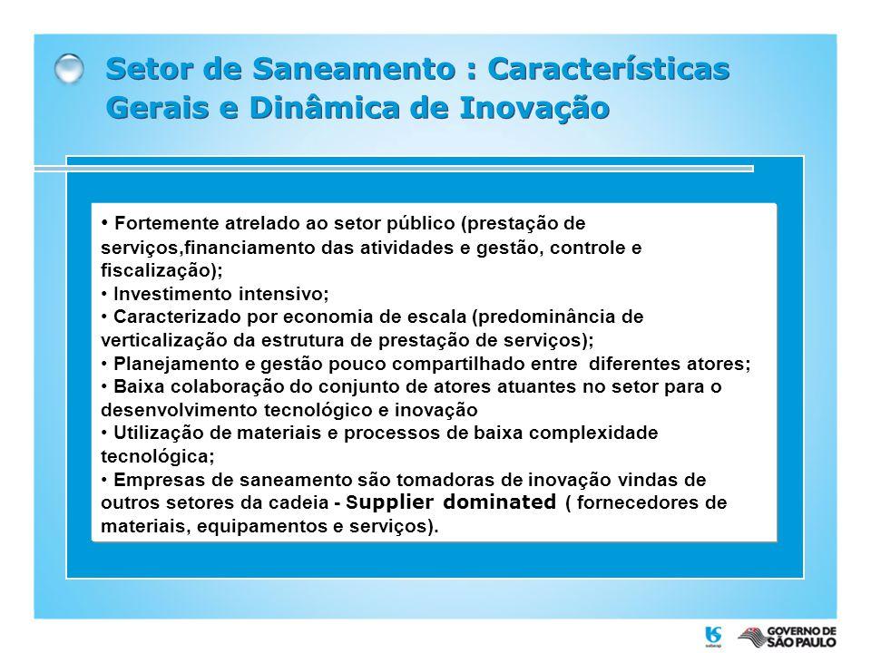 Setor de Saneamento : Características Gerais e Dinâmica de Inovação Fortemente atrelado ao setor público (prestação de serviços,financiamento das ativ