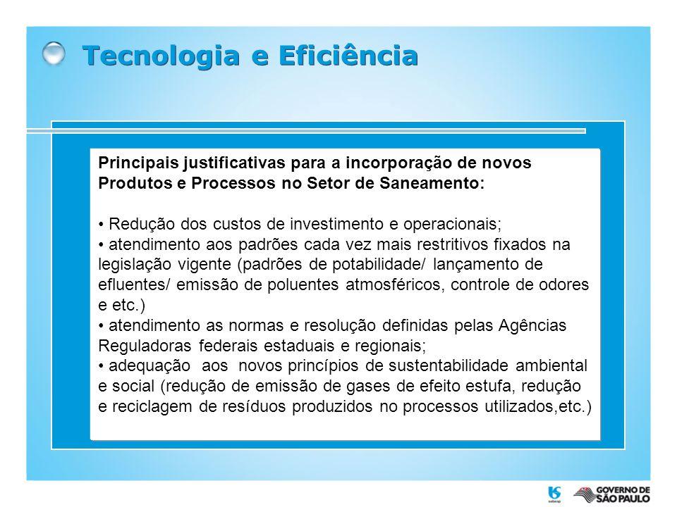 Tecnologia e Eficiência Principais justificativas para a incorporação de novos Produtos e Processos no Setor de Saneamento: Redução dos custos de inve