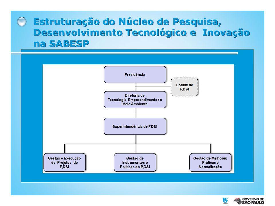 Estudos Prospectivos novos conhecimentos e tecnologias Identificação de tecnologias emergentes Estratégia Corporativa Sabesp Temas e Tecnologias prioritários para P&D Estudo Prospectivo para Definição dos Temas Prioritários de PD&I
