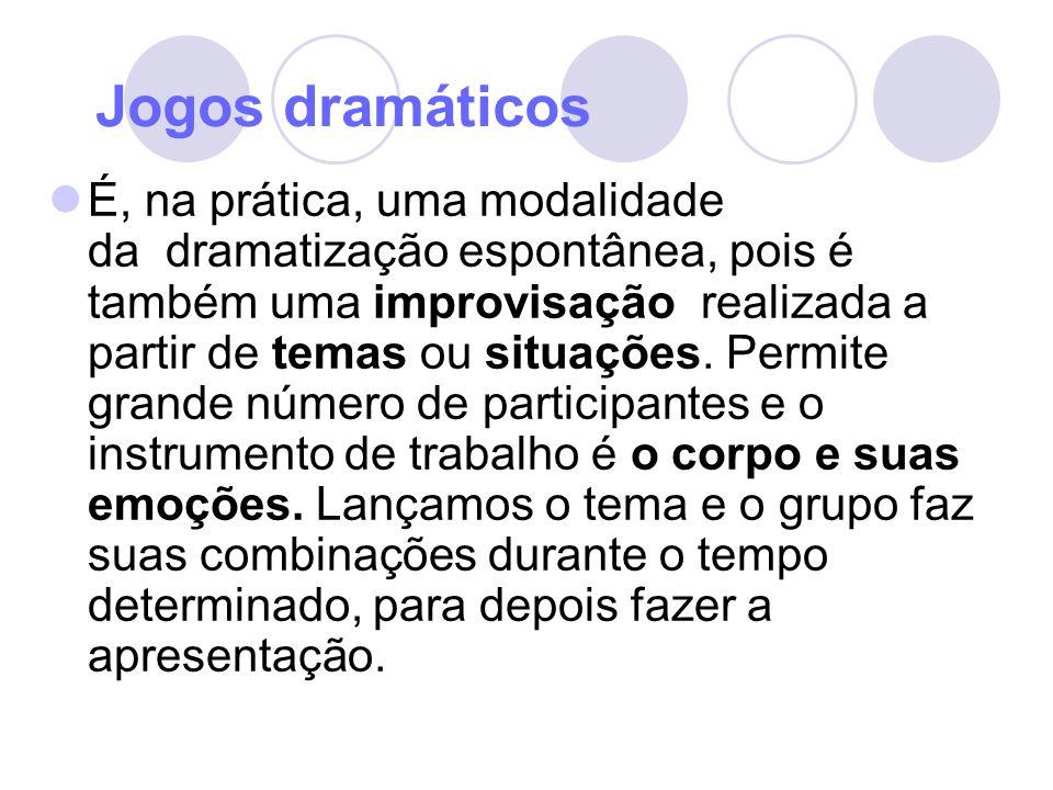 Jogos dramáticos É, na prática, uma modalidade da dramatização espontânea, pois é também uma improvisação realizada a partir de temas ou situações. Pe