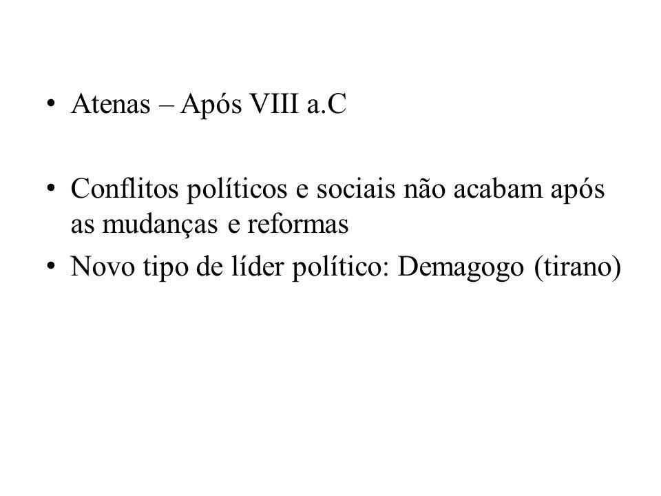 Atenas – Após VIII a.C Conflitos políticos e sociais não acabam após as mudanças e reformas Novo tipo de líder político: Demagogo (tirano)