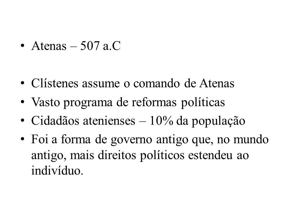 Atenas – 507 a.C Clístenes assume o comando de Atenas Vasto programa de reformas políticas Cidadãos atenienses – 10% da população Foi a forma de gover
