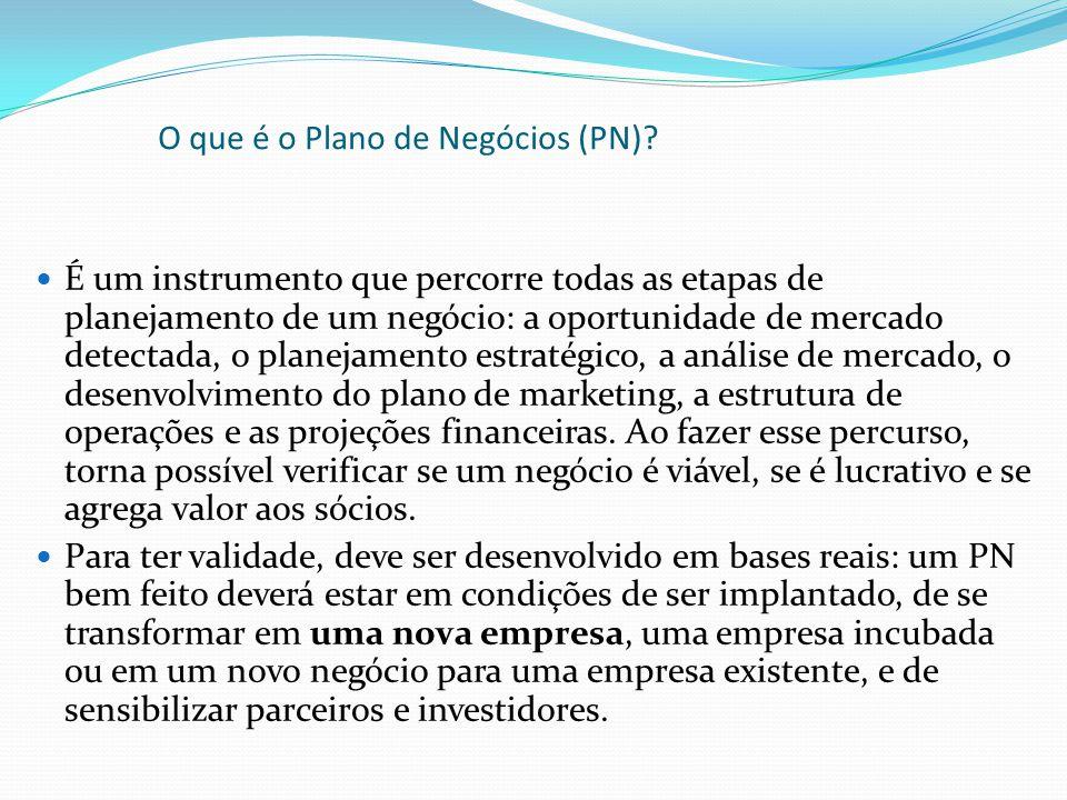 O que é o Plano de Negócios (PN)? É um instrumento que percorre todas as etapas de planejamento de um negócio: a oportunidade de mercado detectada, o