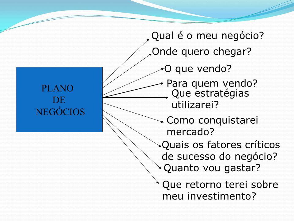 PLANO DE NEGÓCIOS Qual é o meu negócio? Onde quero chegar? O que vendo? Para quem vendo? Que estratégias utilizarei? Como conquistarei mercado? Quais
