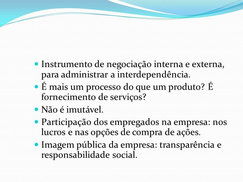 Instrumento de negociação interna e externa, para administrar a interdependência. É mais um processo do que um produto? É fornecimento de serviços? Nã