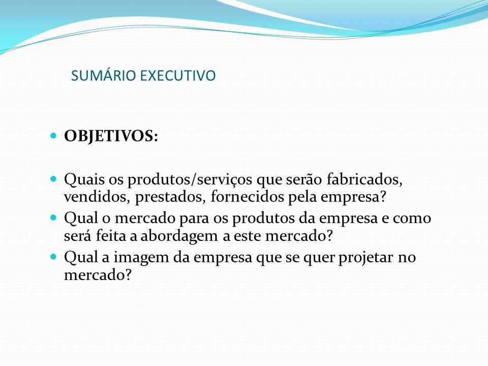 OBJETIVOS: Quais os produtos/serviços que serão fabricados, vendidos, prestados, fornecidos pela empresa? Qual o mercado para os produtos da empresa e
