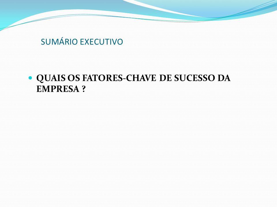 QUAIS OS FATORES-CHAVE DE SUCESSO DA EMPRESA ? SUMÁRIO EXECUTIVO
