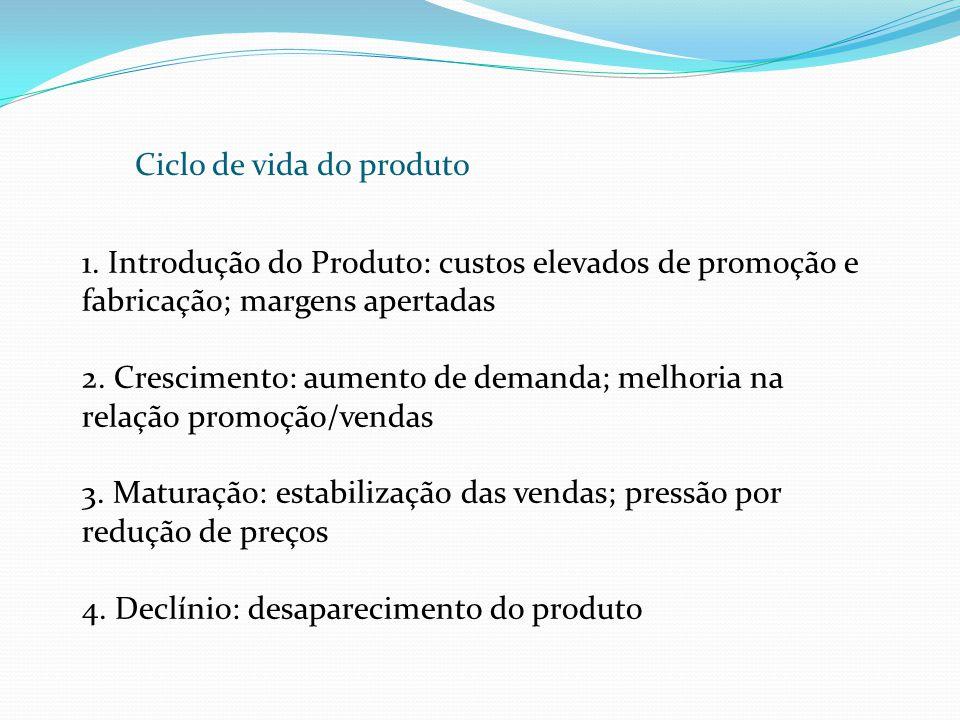 Ciclo de vida do produto 1. Introdução do Produto: custos elevados de promoção e fabricação; margens apertadas 2. Crescimento: aumento de demanda; mel