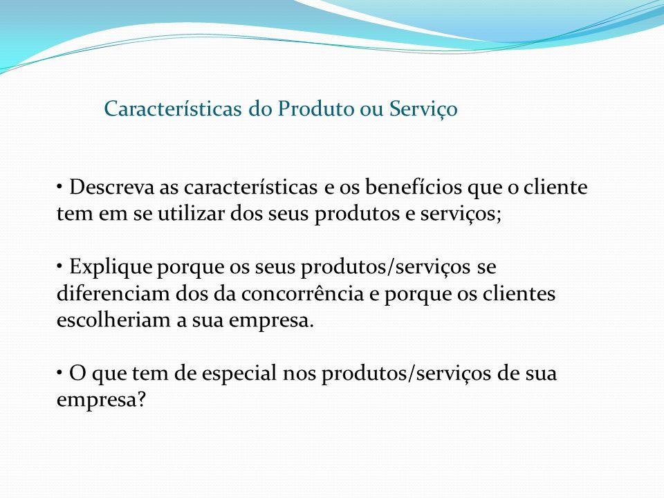 Características do Produto ou Serviço Descreva as características e os benefícios que o cliente tem em se utilizar dos seus produtos e serviços; Expli